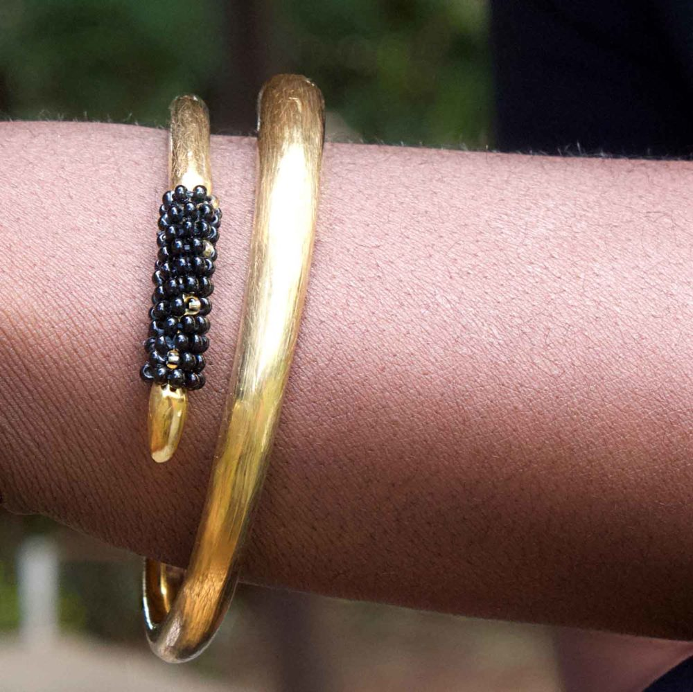 Black Beaded Tusk Bangle Model by SHIKHAZURI