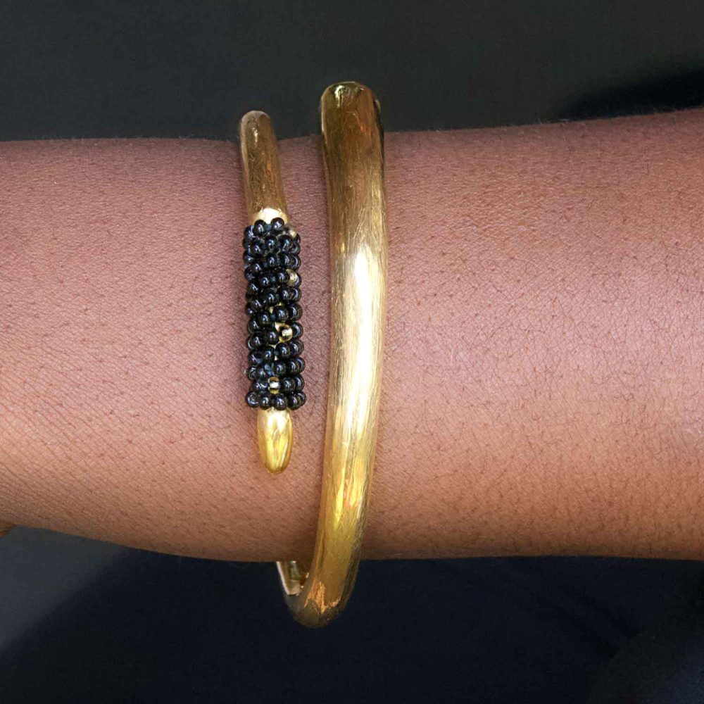 Organic Texture Black Bead Elephant Bangle by SHIKHAZURI