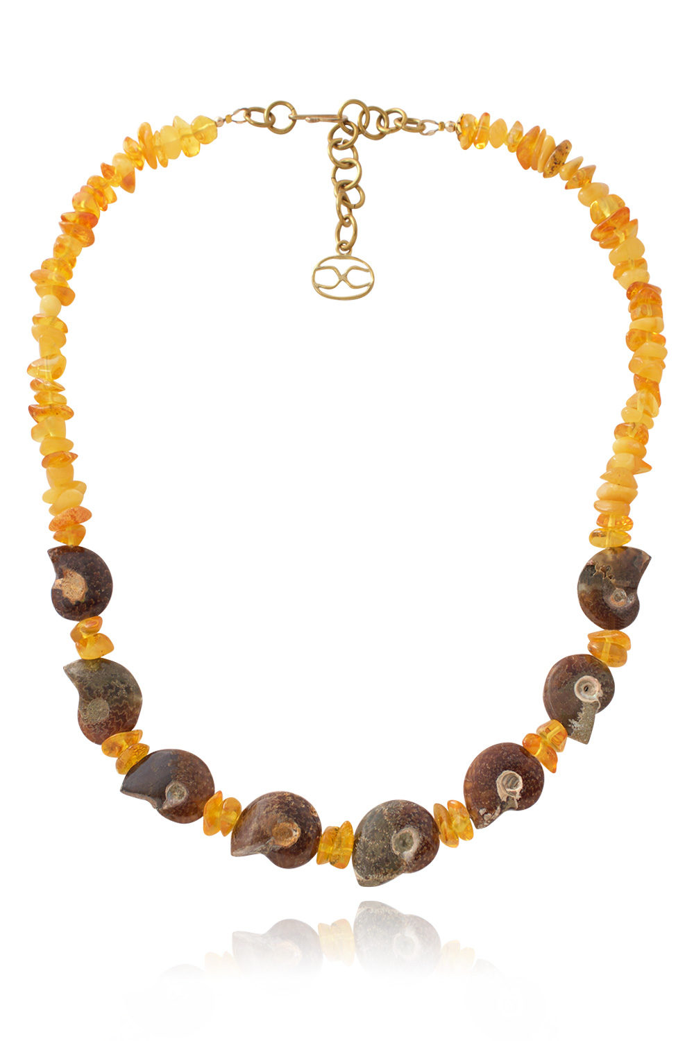 Amber Ammonite Necklace by SHIKHAZURI