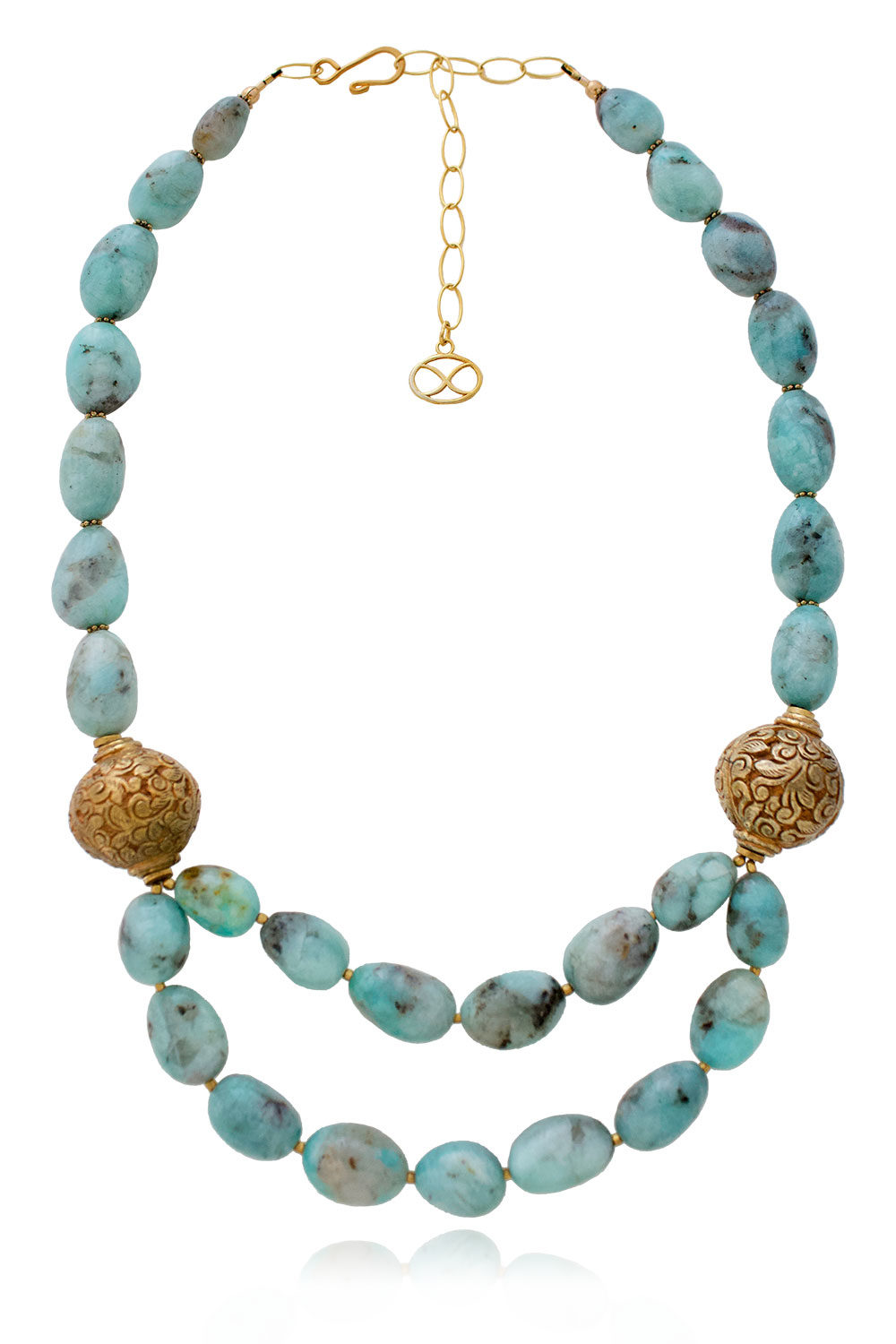 Badru Amazonite Statement Necklace by SHIKHAZURI