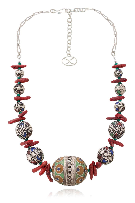 Fayola Berber Egg Bead Necklace with Coral by SHIKHAZURI