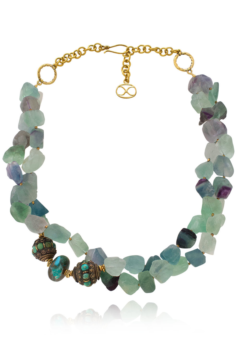 Ifama Tibetan Bead Fluorite Necklace by SHIKHAZURI