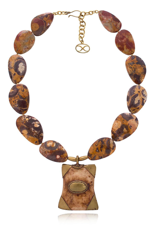 Naima African shield pendant necklace by SHIKHAZURI
