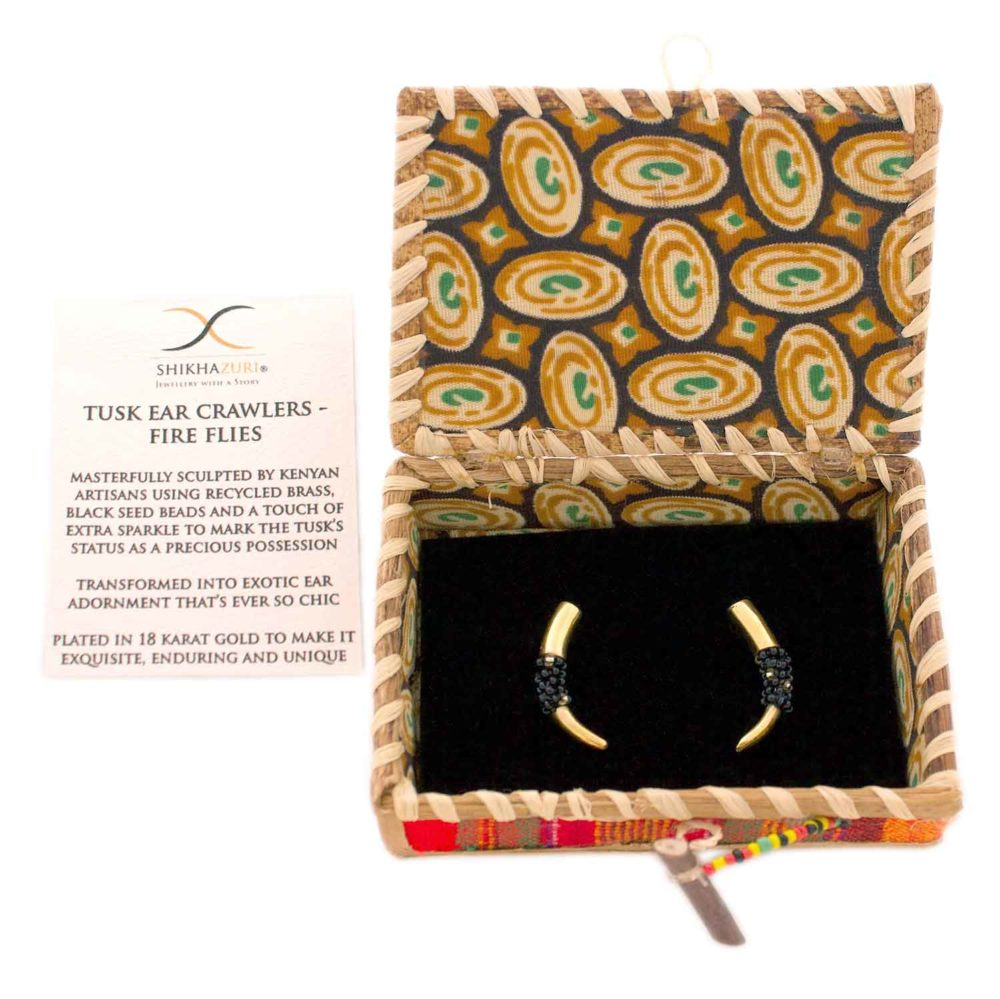 Black Bead Tusk Ear Climbers Packaging by SHIKHAZURI