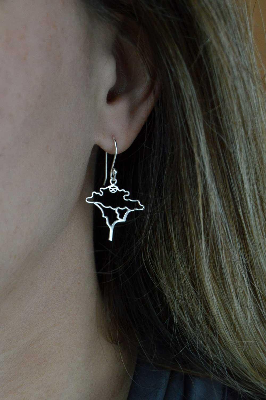 Acacia Silver Plated Earring Modelled by SHIKHAZURI