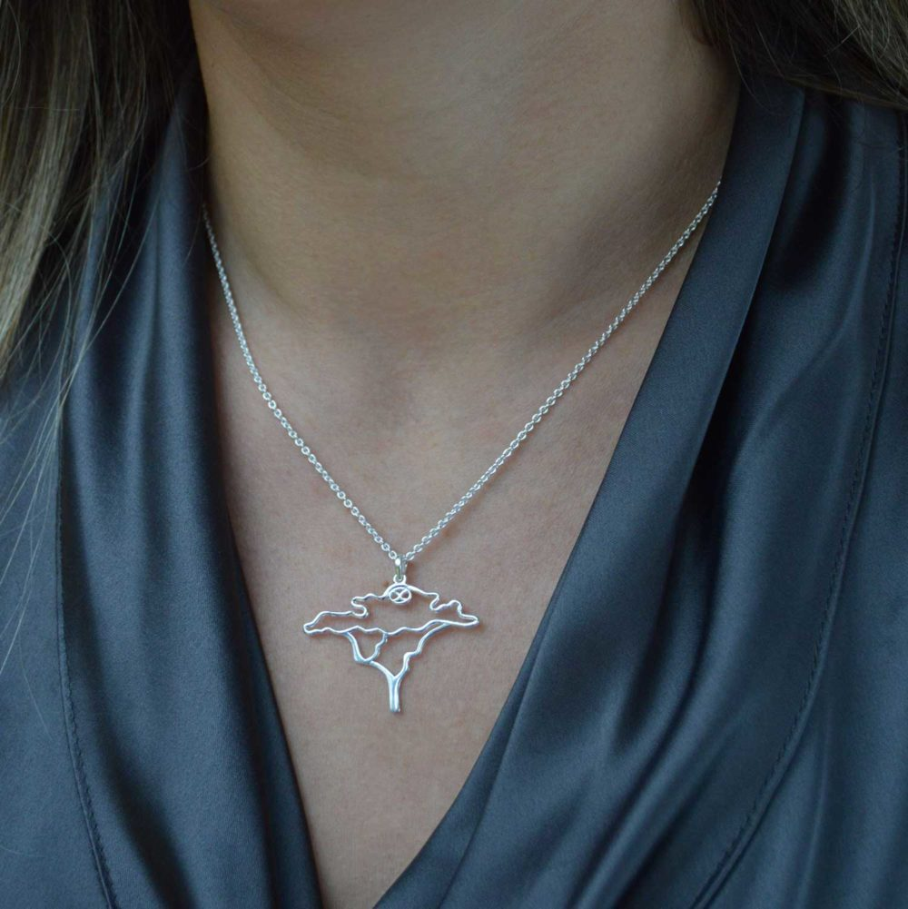 Acacia Tree Silver Necklace Modelled by SHIKHAZURI