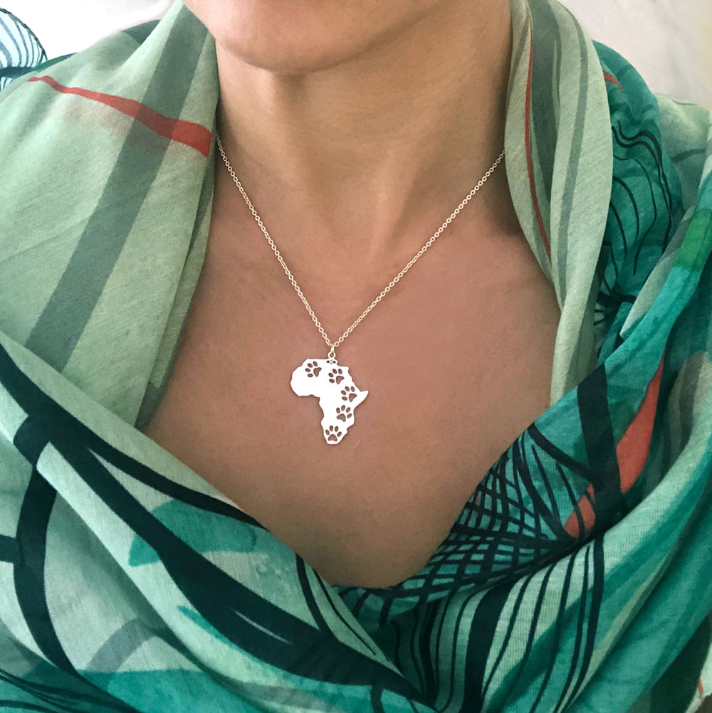 Silver Plated Africa Necklace Modelled by SHIHKAZURI