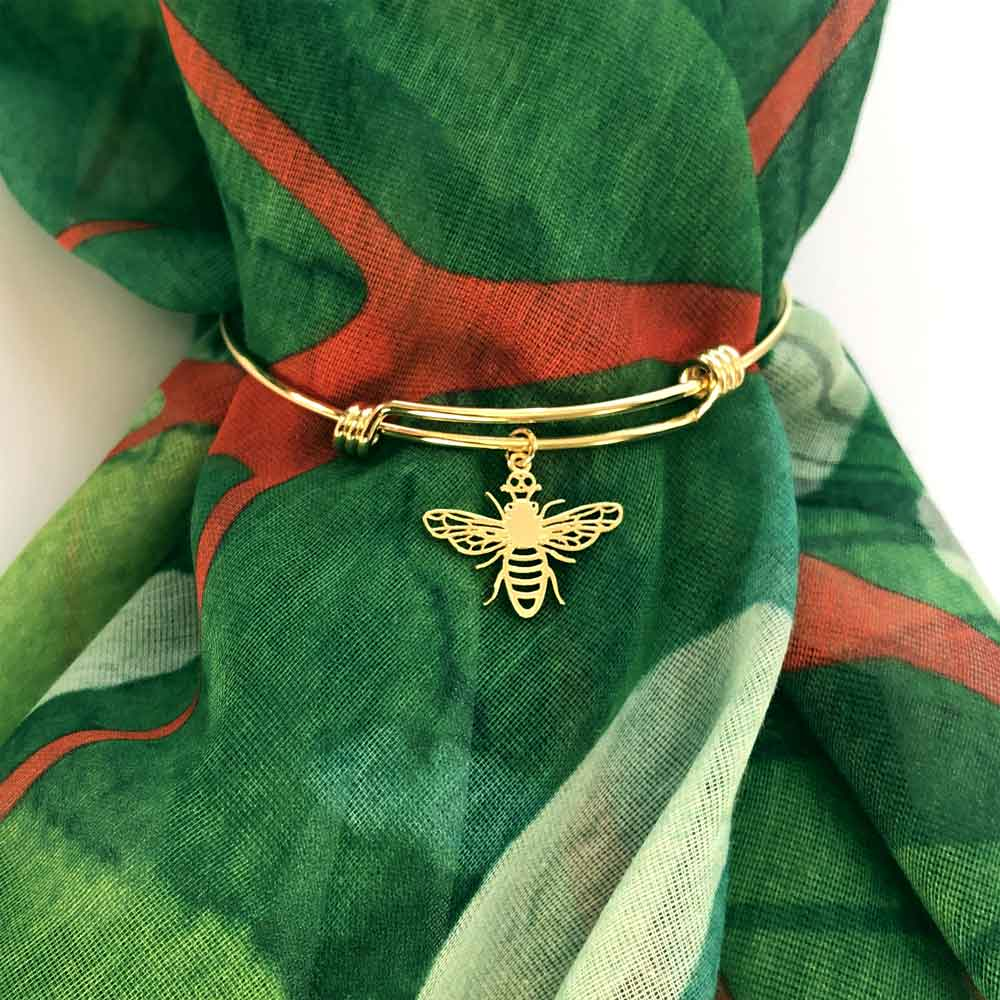 SHIKHAZURI Bee Gold Plated Bangle on Mia Kora Scarf