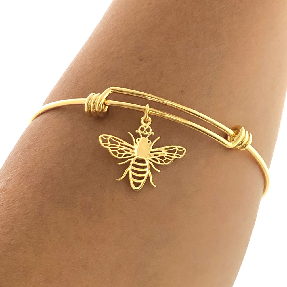 Bee Gold Plated Bangle Modelled by SHIKHAZURI