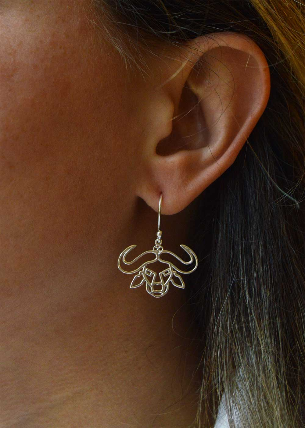 Buffalo Silver Plated Earring Modelled by Shikhazuri
