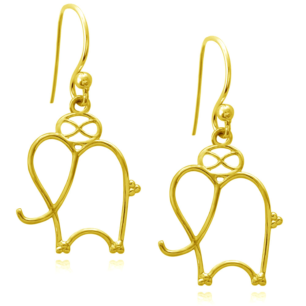 Elephant Talisman Gold Plated Earrings by SHIKHAZURI