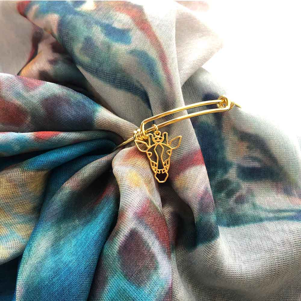 Giraffe Gold Bangle by SHIKHAZURI and Mia Kora Scarf