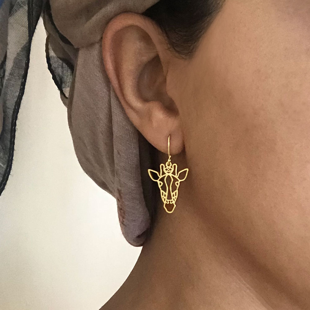 Twiga Giraffe Gold Plated Earrings Modelled by SHIKHAZURI