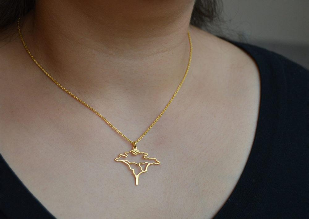 Gold Plated Acacia Necklace Modelled by SHIKHAZURI