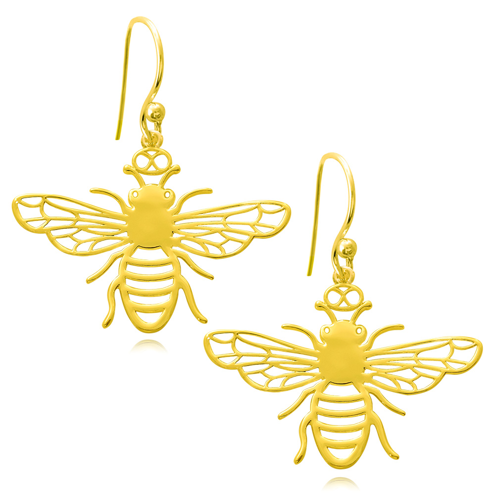 Bee Gold Plated Earrings by SHIKHAZURI