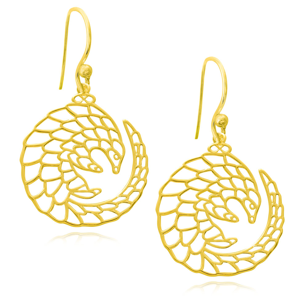 Pangolin Gold Plated Earrings by SHIKHAZURI