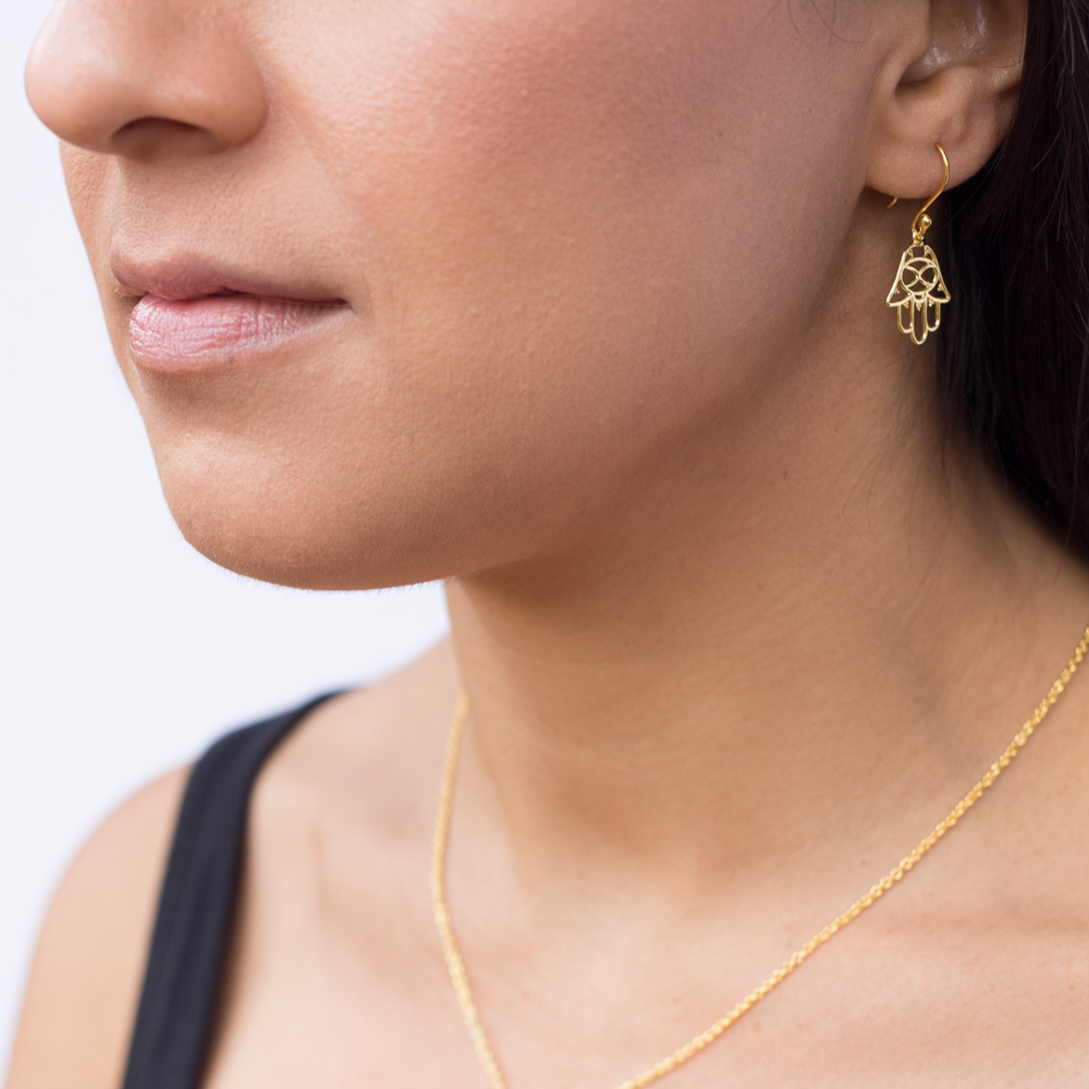 Hamsa Gold Earrings by SHIKHAZURI