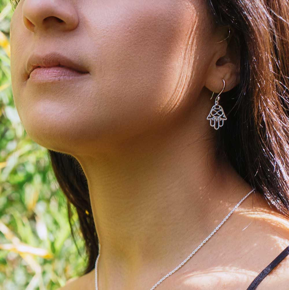 Hamsa Silver Earrings Chic by SHIKHAZURI