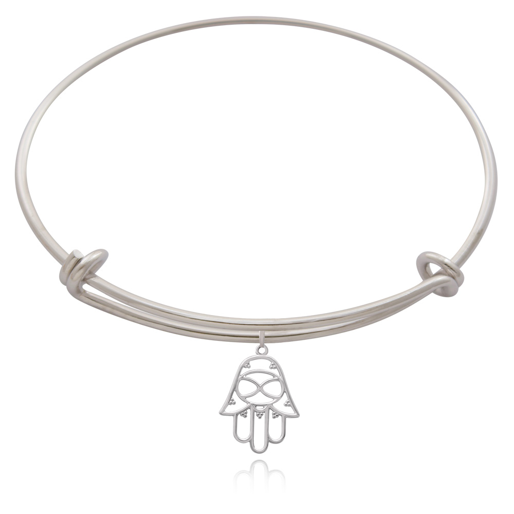 Hamsa Silver Plated Bangle by SHIKHAZURI