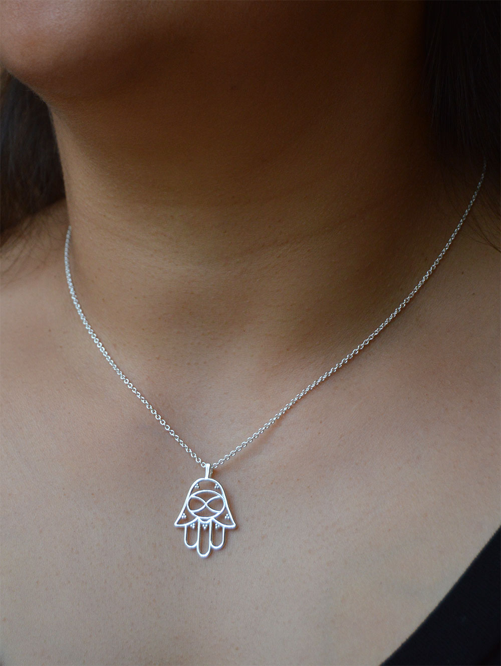 Hamsa Silver Plated Necklace in Focus by SHIKHAZURI
