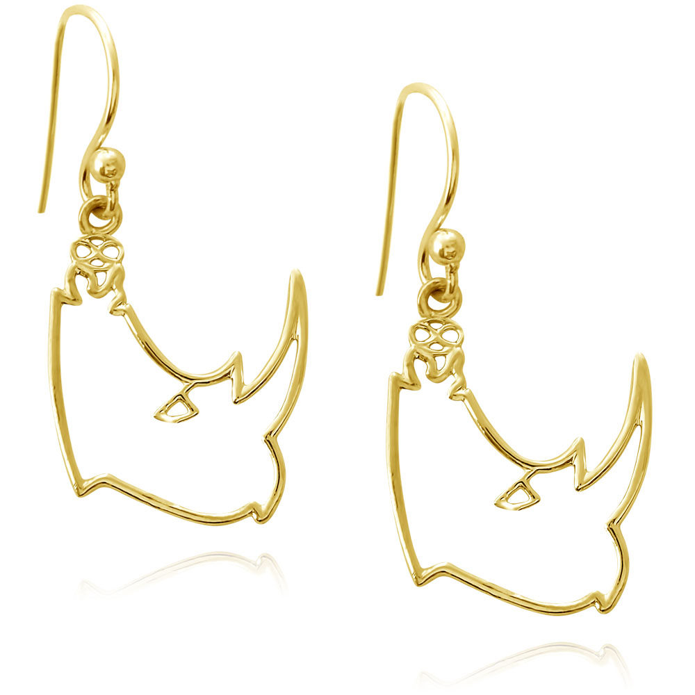 Kifaru Rhino Gold Plated Earrings by Shikhazuri