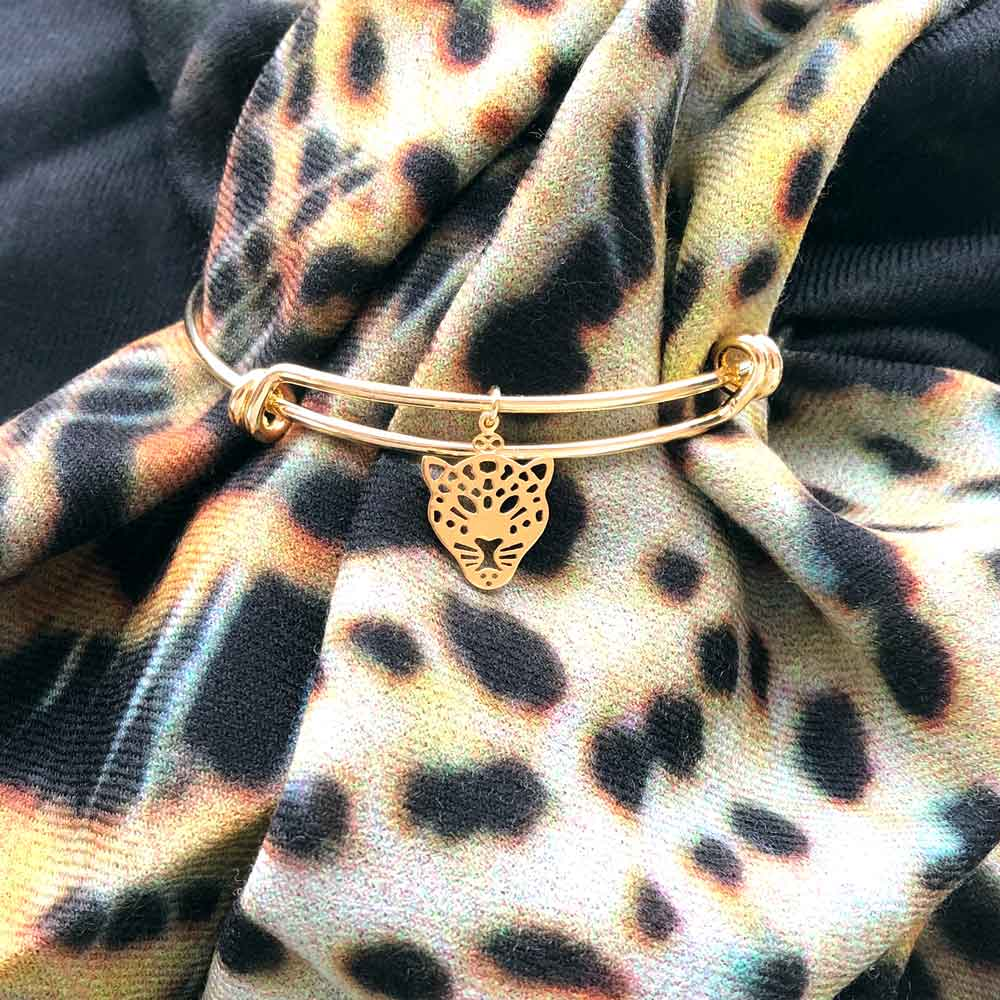 Leopard Bangle Gold Plated Mia Kora Scarf by SHIKHAZURI