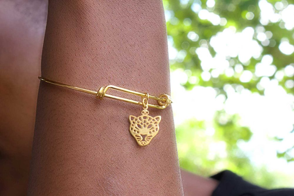 Chui Leopard Gold Plated Bangle Modelled by SHIKHAZURI