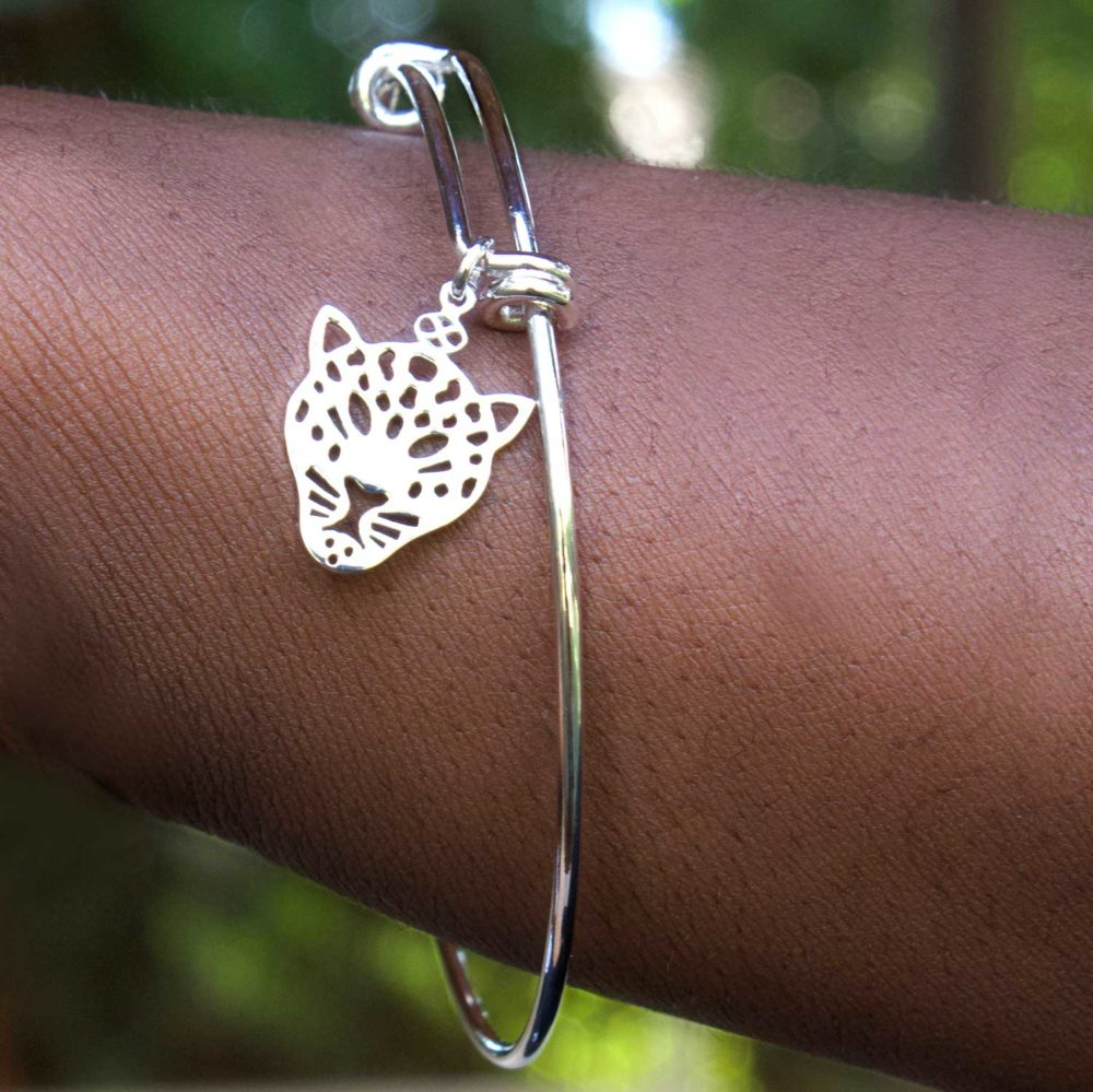 Leopard Silver Plated Bangle Modelled by SHIKHAZURI