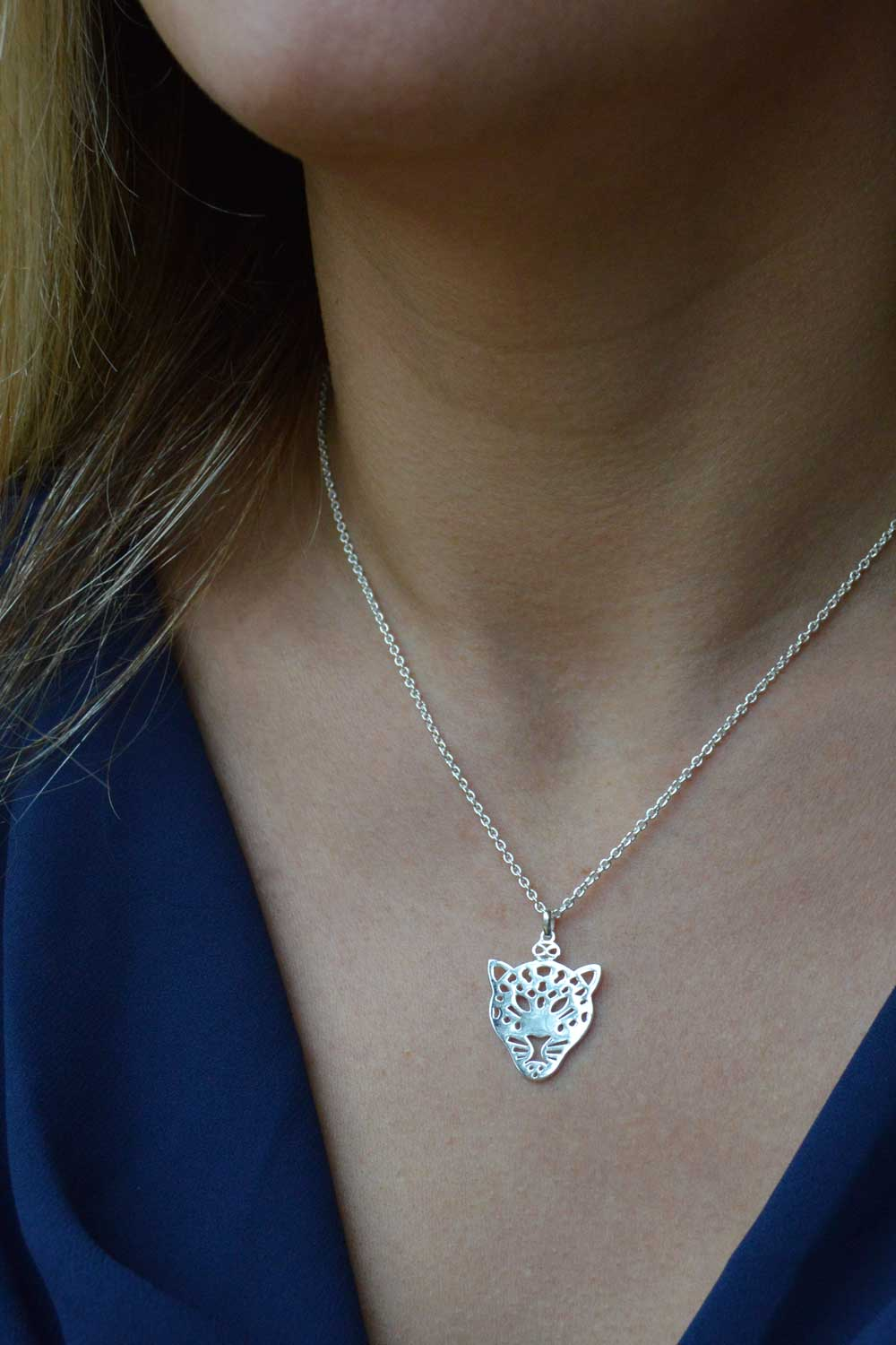 Leopard Silver Plated Necklace Formal by Shikhazuri