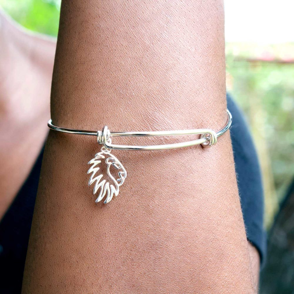 Lion Silver Charm Bangle Modelled by SHIKHAZURI