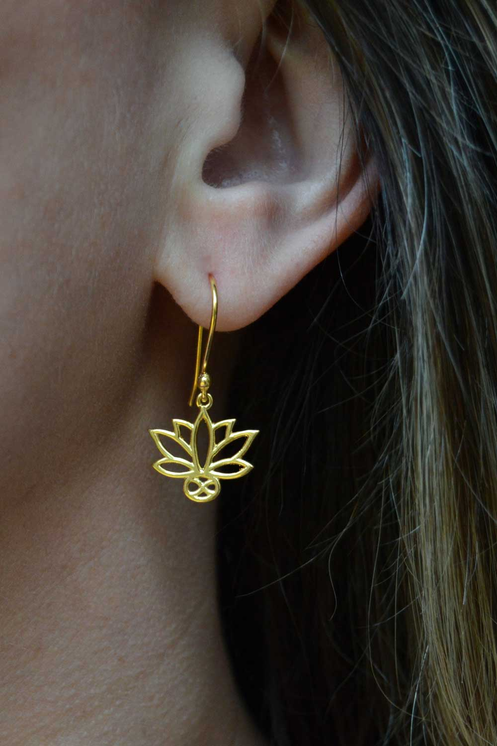 Gold Plated Lotus Earrings in Focus by SHIKHAZURI