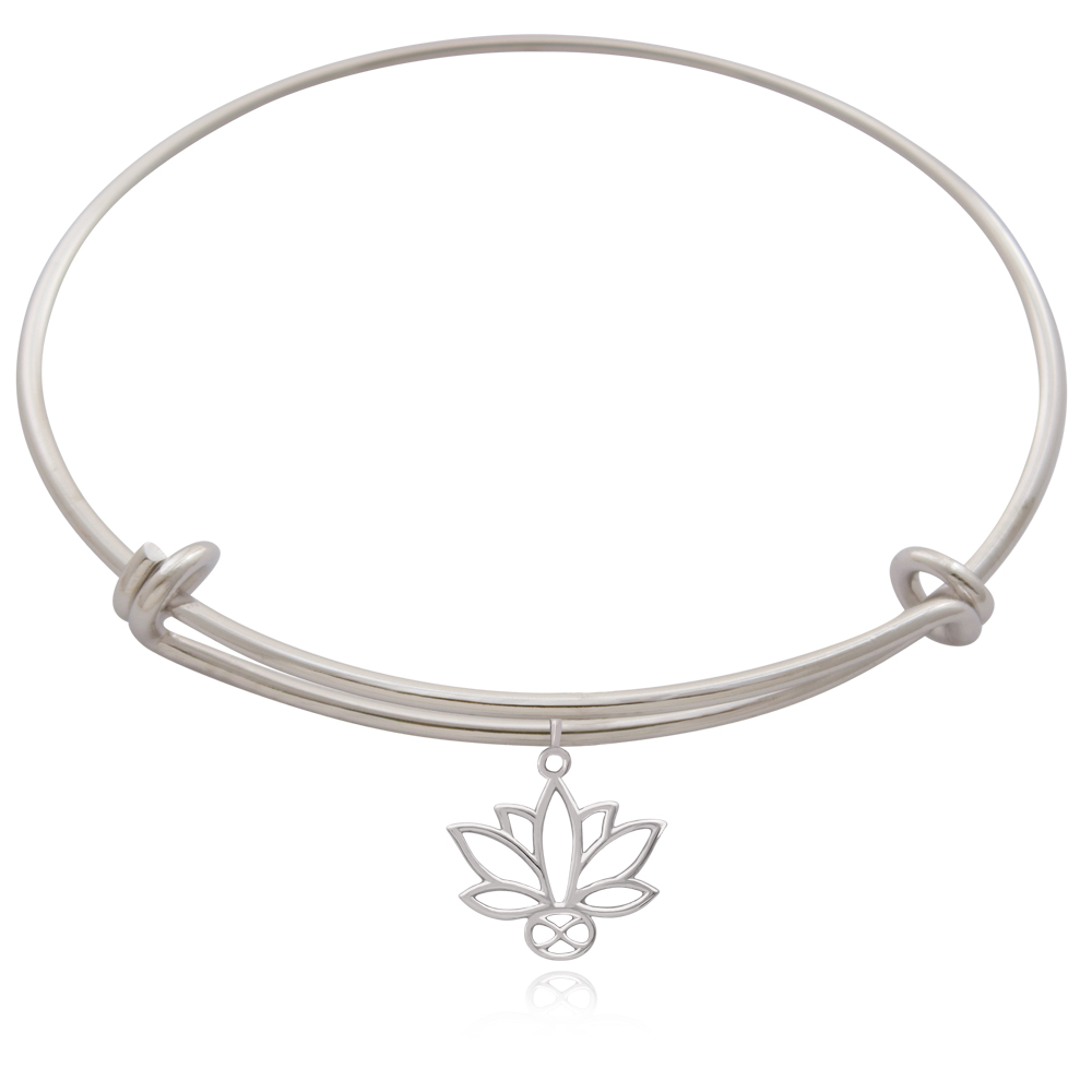 Lotus Silver Plated Bangle by SHIKHAZURI