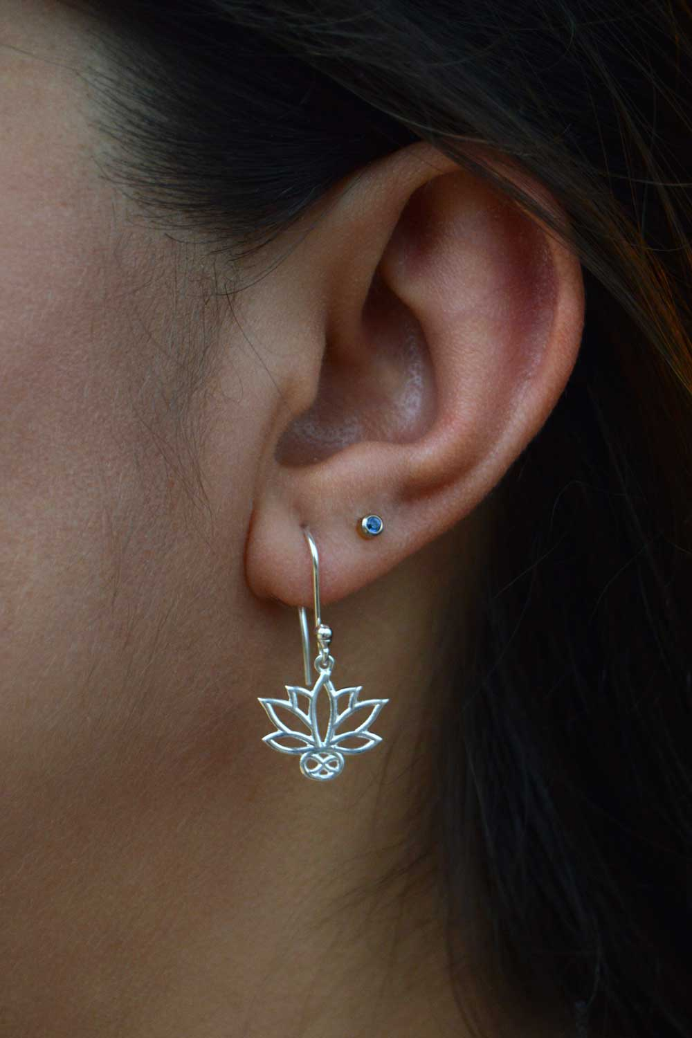 Lotus Silver Plated Earrings in Focus by SHIKHAZURI