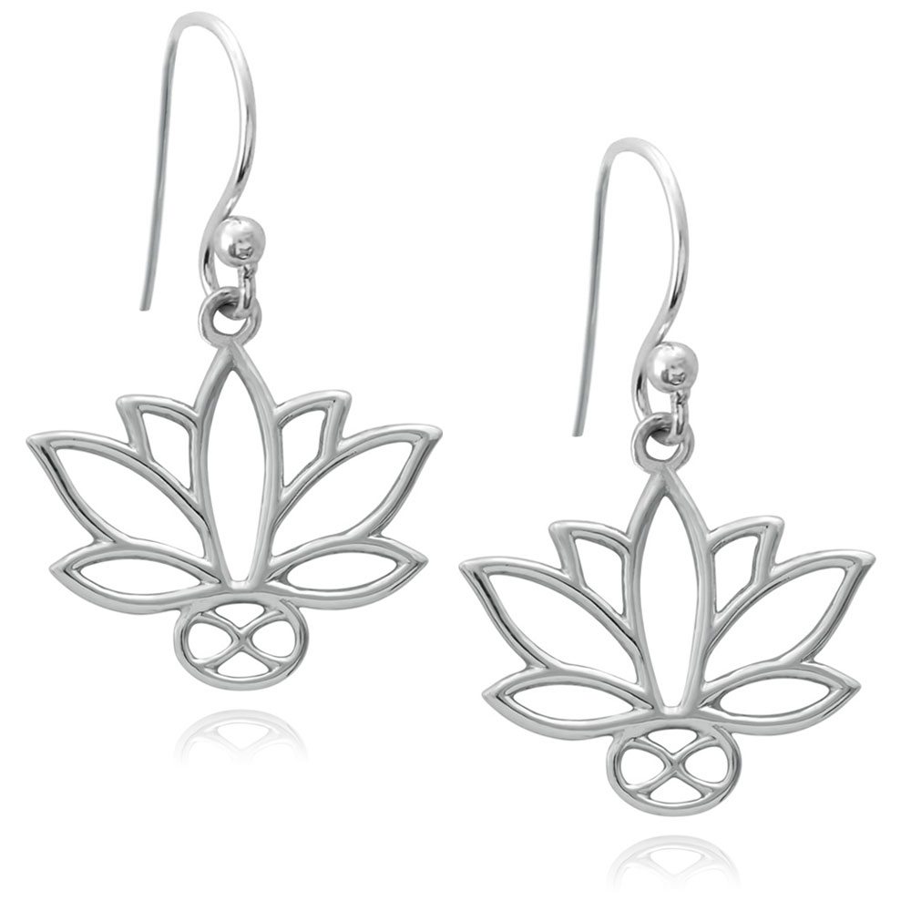 Lotus Silver Plated Earrings by SHIKHAZURI