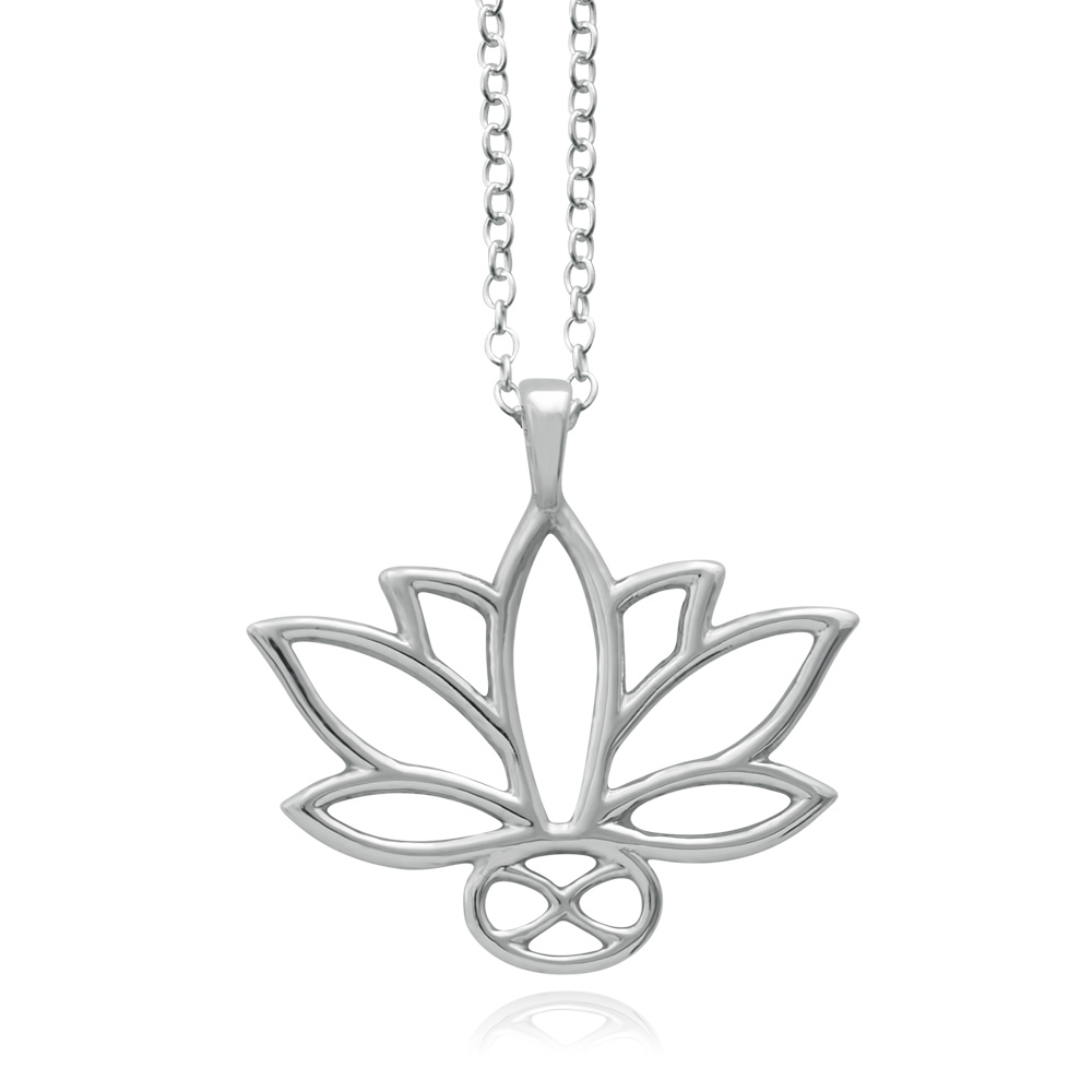 Lotus Silver Plated Necklace by SHIKHAZURI