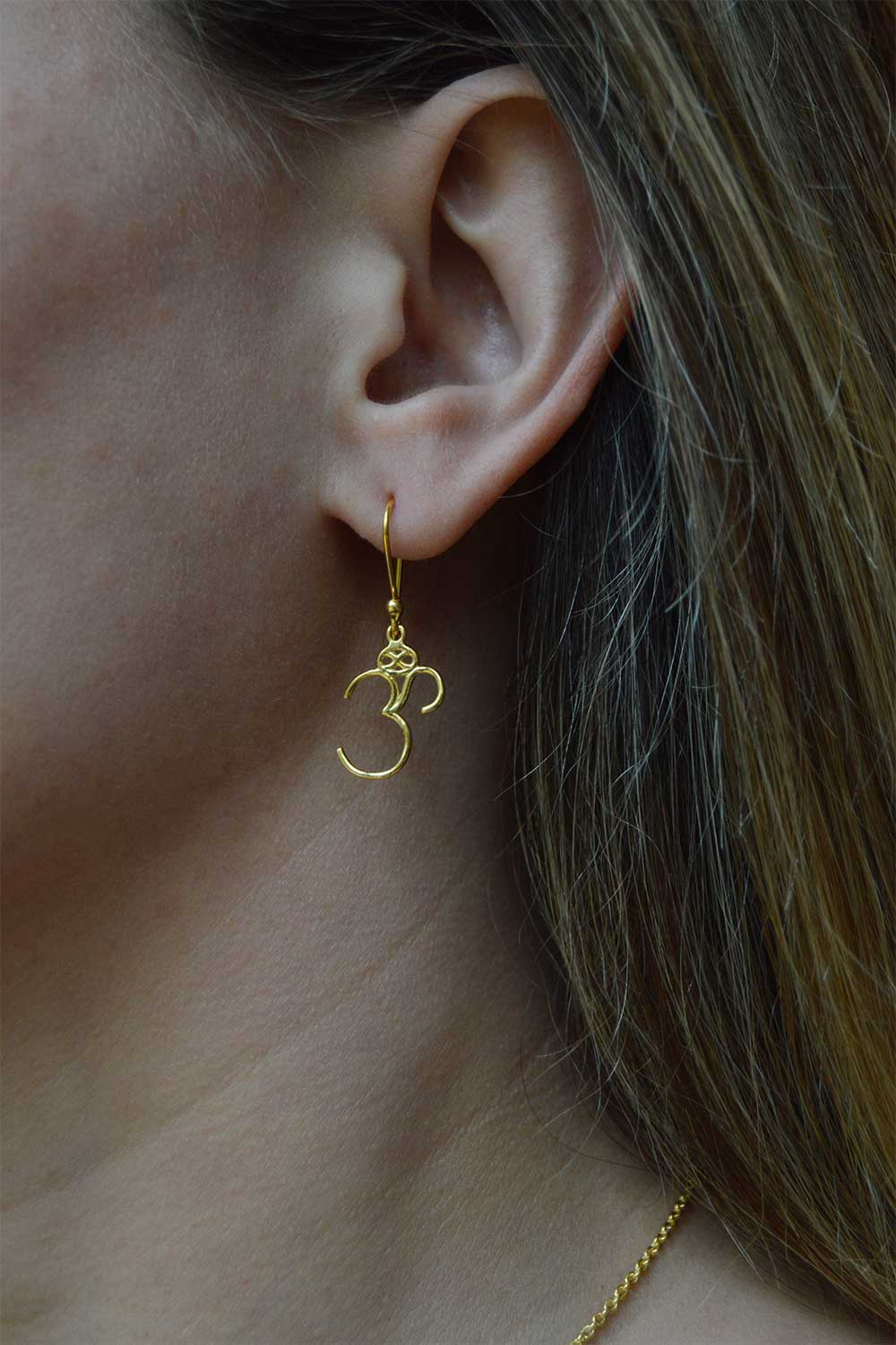 Om Gold Plated Earring Modelled by SHIKHAZURI