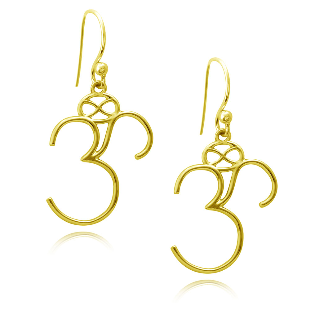 Om Gold Plated Earrings by SHIKHAZURI