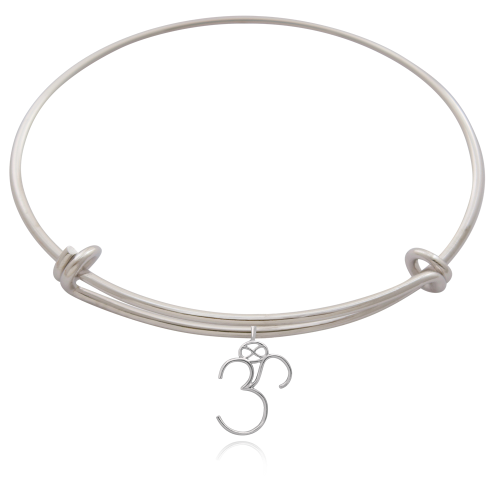 Om Silver Plated Bangle by SHIKHAZURI