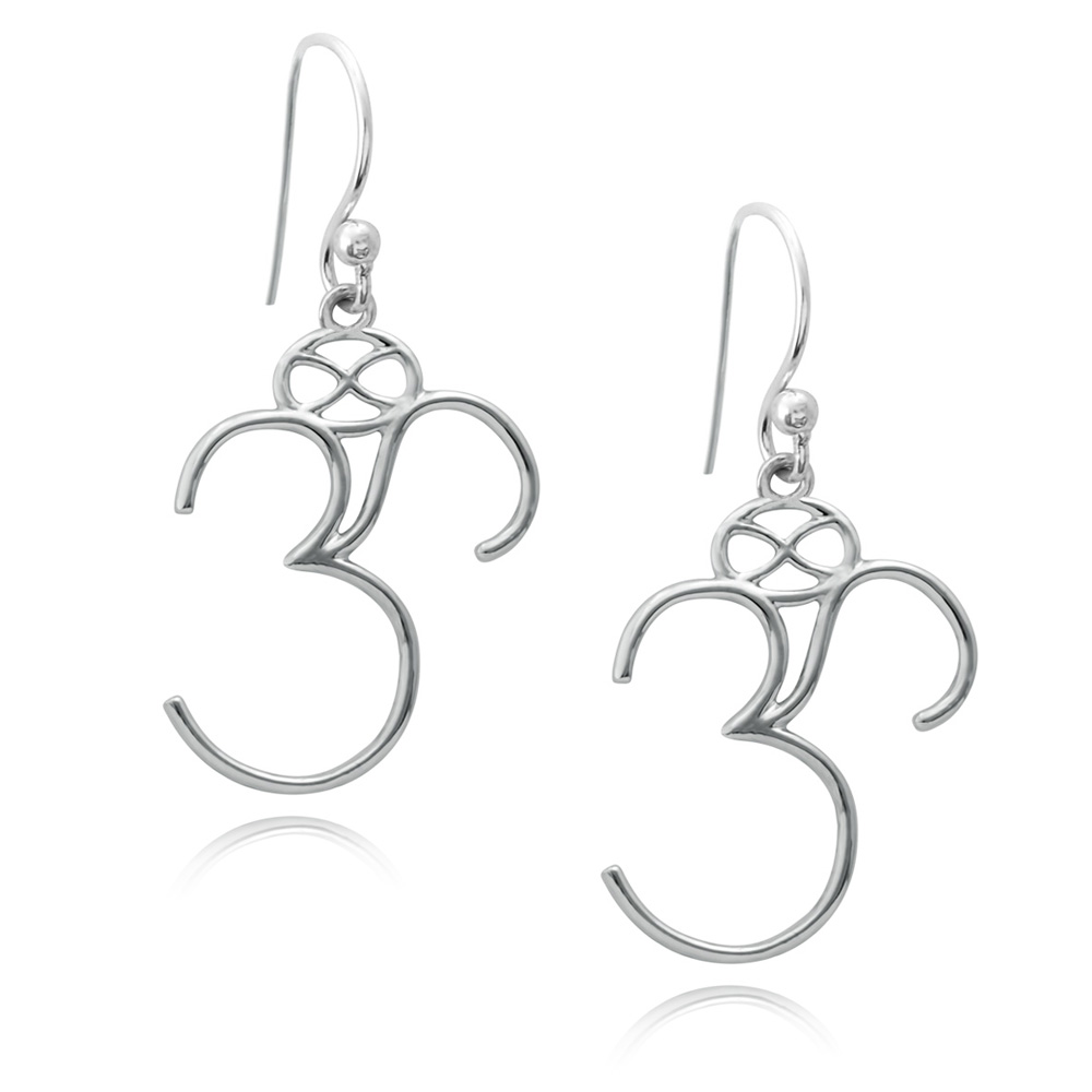 Om Silver Plated Earrings by SHIKHAZURI