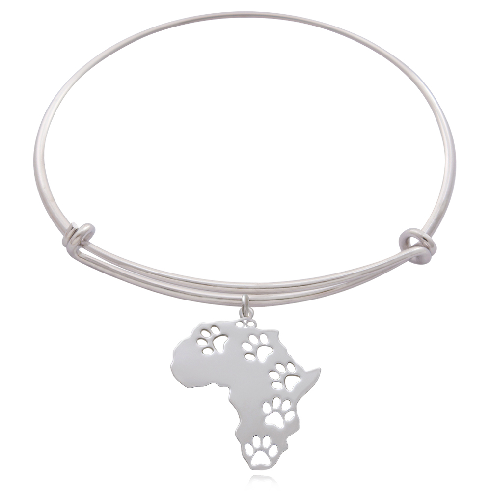 Africa Silver Plated Bangle by SHIKHAZURI