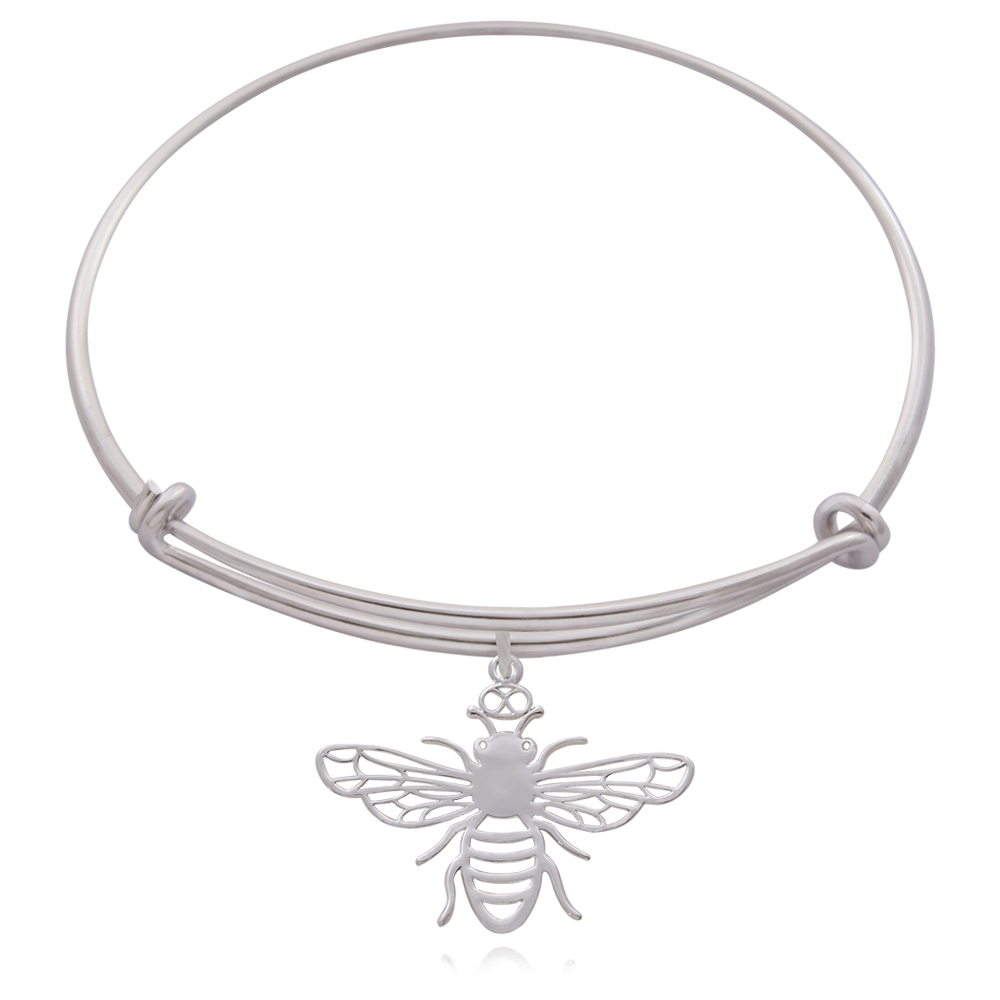 Bee Silver Plated Bangle by SHIKHAZURI