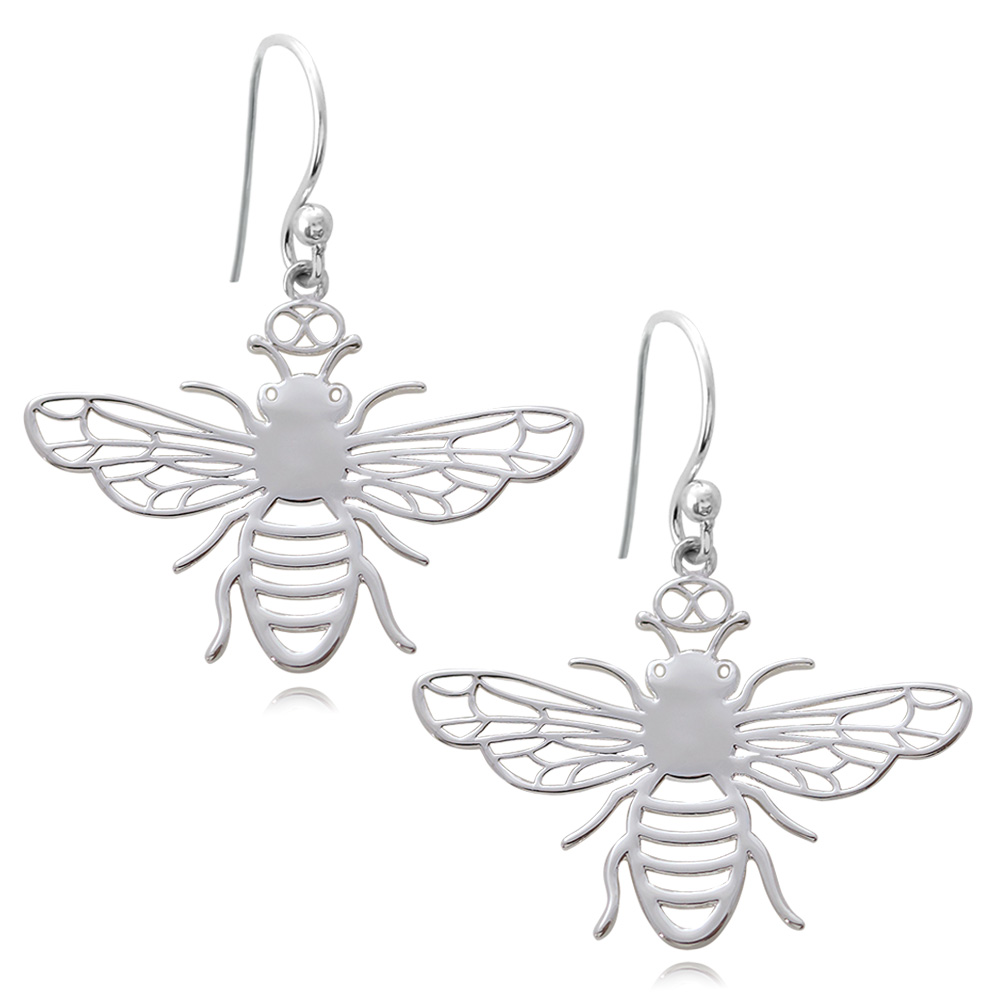 Bee Silver Plated Earrings by SHIKHAZURI