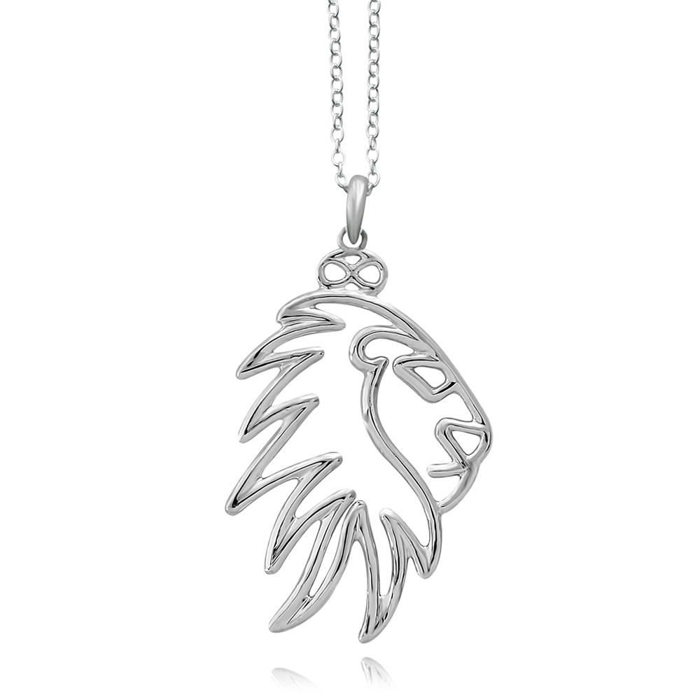 Simba Lion Silver Plated Necklace by SHIKHAZURI