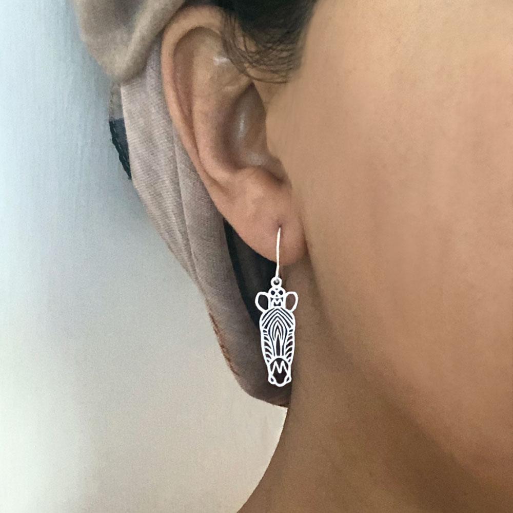 Silver Plated Zebra Earrings Modelled by SHIKHAZURI