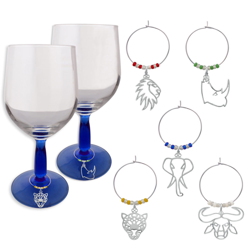 Big Five Wine Glass Charms by SHIKHAZURI