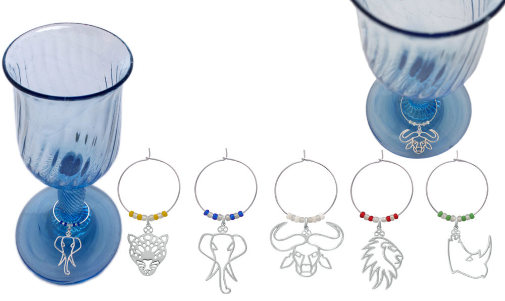 Big Five Wine charms with glasses Simply Zuri by SHIKHAZURI
