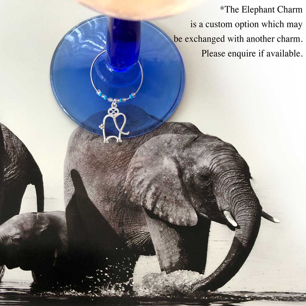 Elephant Wine Glass Charm by SHIKHAZURI