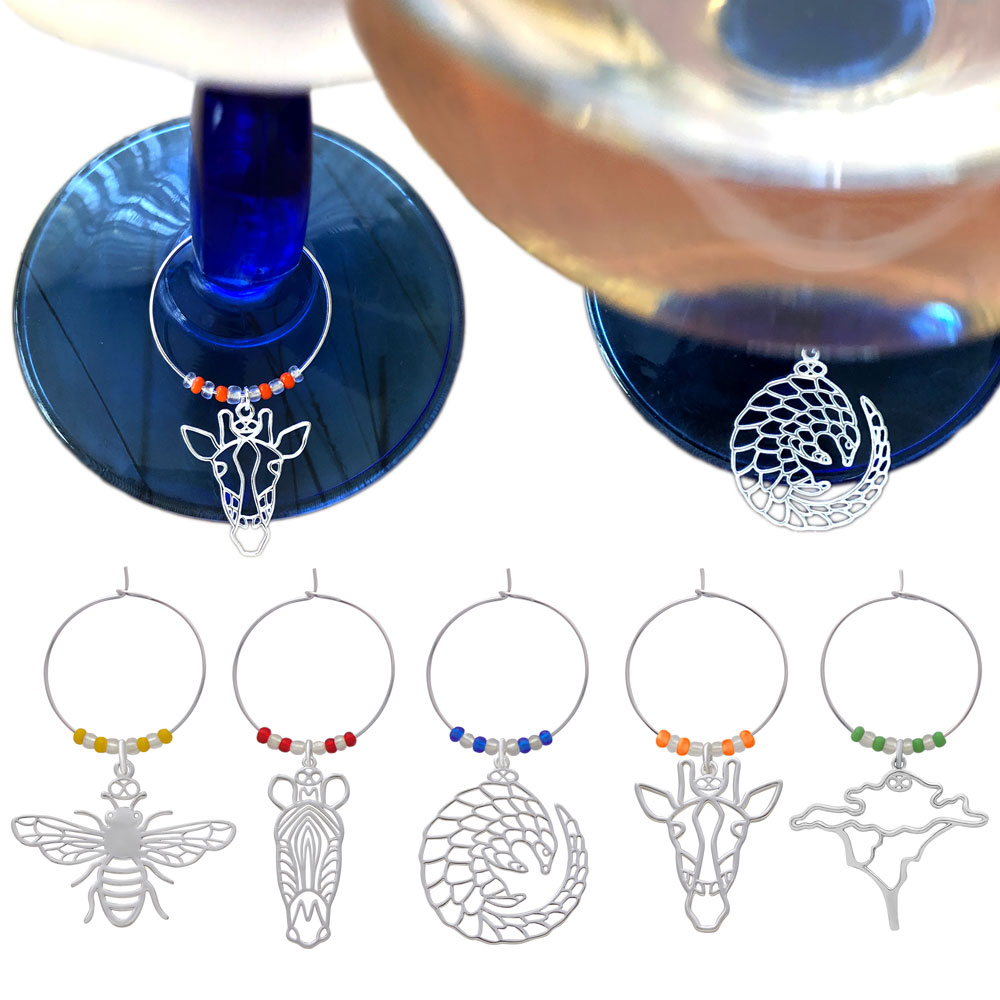 Savannah Animal Wine Glass Charms by SHIKHAZURI
