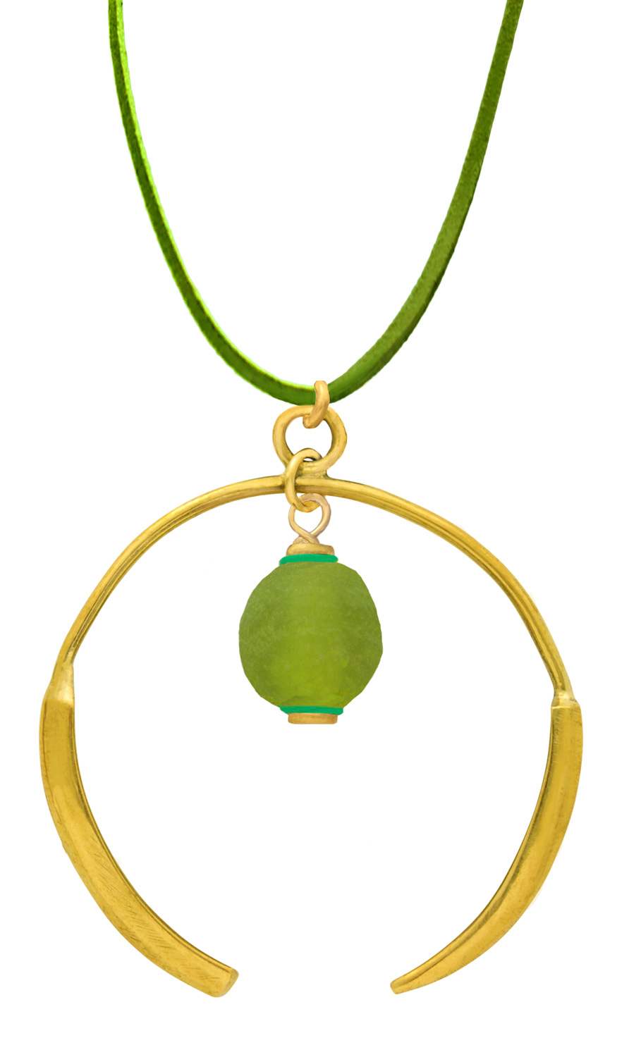 Small Green Aza Petite Necklace on Suede on SHIKHAZURI