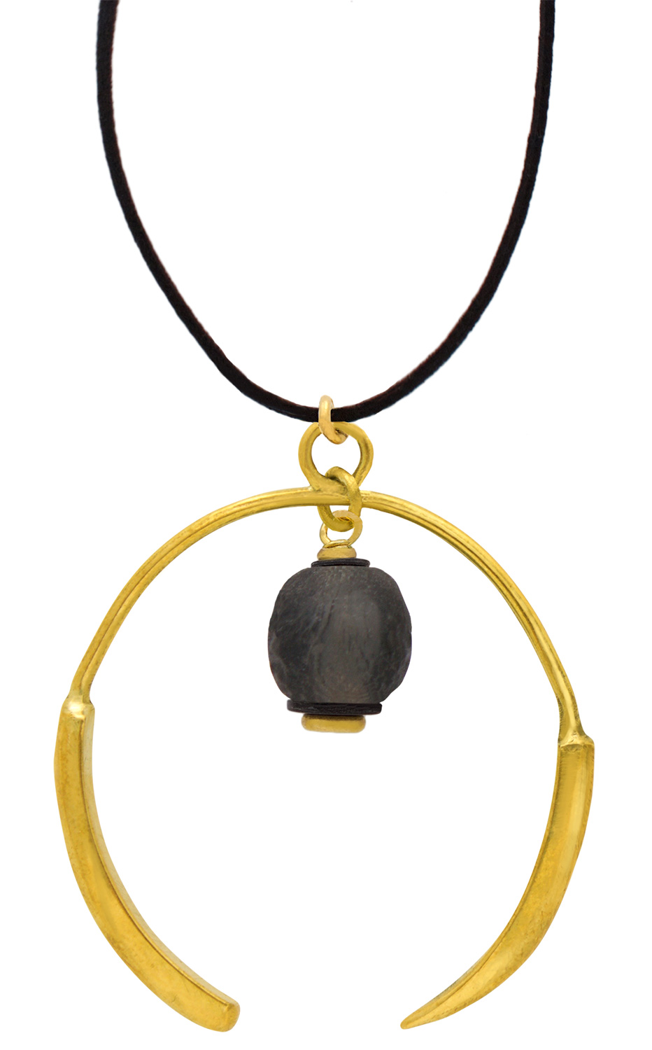 Small Nyeusi Black Aza Petite Necklace Suede by SHIKHAZURI